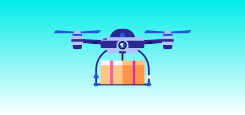 vector illustration of a drone carrying a package